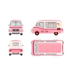 Pink ice cream car vector