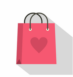 pink shopping bag with heart icon flat style vector image