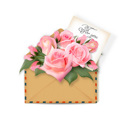 roses with a note in an envelope template for vector image