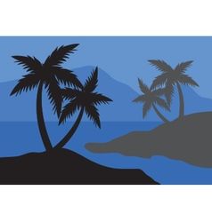 Silhouettes of palm at the night vector