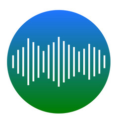 Sound waves icon white icon in bluish vector
