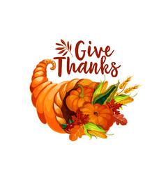 thanksgiving cornucopia symbol of autumn harvest vector image