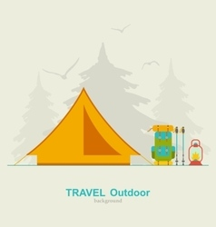 Travel Camping Background with Tourist Tent vector image