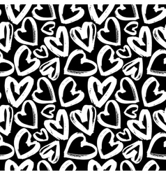 Seamless pattern white heart on black background vector