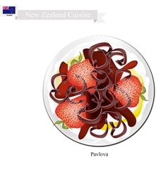 Pavlova cake with strawberries new zealand vector