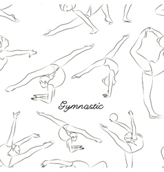 Woman stretching gymnastic sport pattern vector image