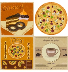 Set of vintage cards with the image of food vector image