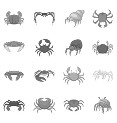 Colorful crab icons set monochrome style vector