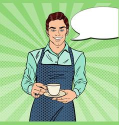 pop art handsome barista cafe making coffee vector image