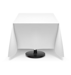 Square dining table with white tablecloth and vector