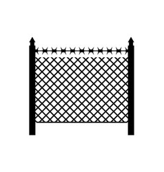Boundary fence with barbed wire border protection vector