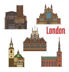 London travel landmark of british church icon set vector