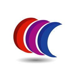 Crescent shaped 3d logo with shadow vector image