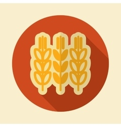 Spikelets wheat retro flat icon with long shadow vector image