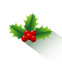 Holly christmas and long shadow vector