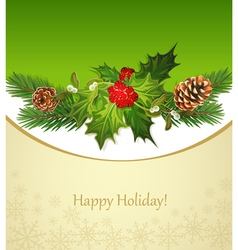 Holiday background tree pine cones holly and the f vector