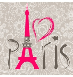 paris word and heart vector image