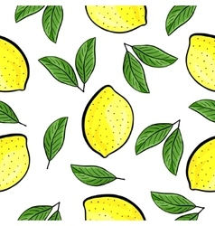 Seamless hand drawn lemon pattern vector image