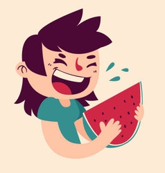 Cartoon girl eating watermelon vector