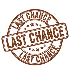 Last chance brown grunge round vintage rubber vector