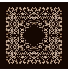 Outline frame with swirls mono line graphic vector