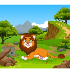 funny lion cartoon in the jungle vector image
