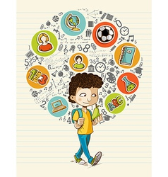 Back to school education icons colorful cartoon vector image
