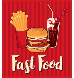 Banner with fast food with cola vector