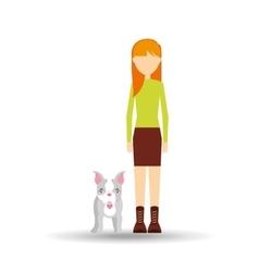 character girl pet french bulldog graphic vector image vector image