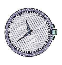 Color pencil graphic purple clock without bracelet vector