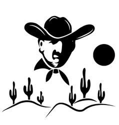 Cowboy on the background of desert with cactus vector