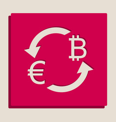 Currency exchange sign euro and bitcoin vector