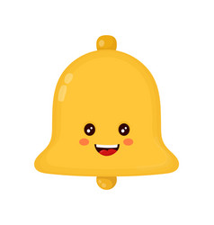 cute smiling happy gold bell flat vector image