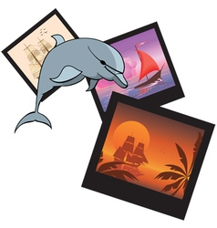 Dolphin and photoframes vector