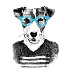 Dressed up dog in hipter style vector