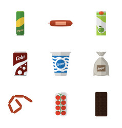 Flat icon food set of confection spaghetti vector