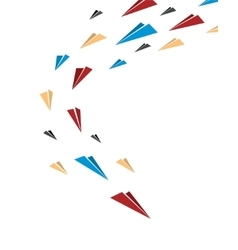 Flying together multicolor origami paper planes vector