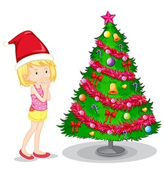 Girl and christmas tree vector