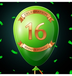 Green balloon with golden inscription sixteen vector image