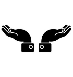 hands support icon black vector image