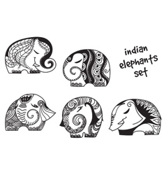 Indian elephants set vector