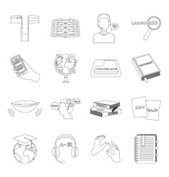 Interpreter and translator set icons in outline vector image vector image
