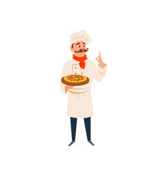 italian chef holding wooden board with traditional vector image vector image