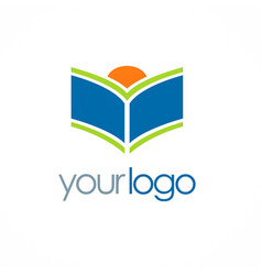 Open book knowledge logo vector