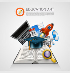 Open book with a set of objects art sign vector