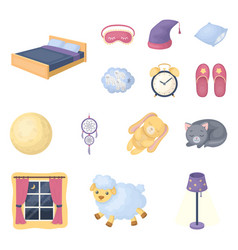 Rest and sleep cartoon icons in set collection for vector