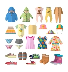 set of baby clothes in flat style Children vector image vector image
