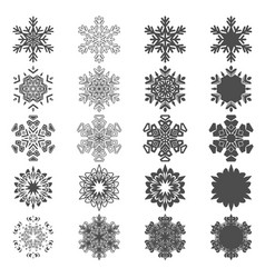 set of black and white snowflakes vector image vector image