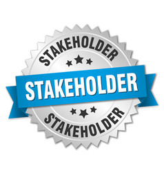 Stakeholder round isolated silver badge vector