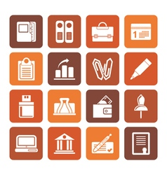 Flat business office and finance icons vector